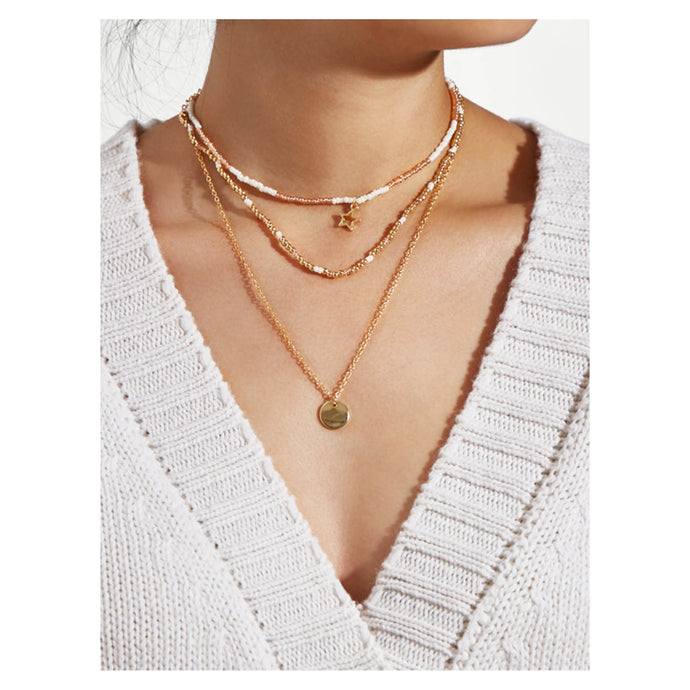 Necklace - Gold White Sequin Star Layered Choker Necklace - MBM Unlimited