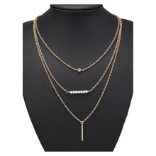 Necklace - Gold Faux Pearl Bar Pendant Delicate Layered Necklace - MBM Unlimited