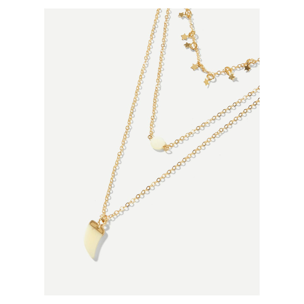 Necklace - Gold Mini Stars Charms Horn Pendant Layered Necklace - MBM Unlimited