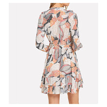 Multicolor Print Long Sleeve Button Down Tie Waist Dress