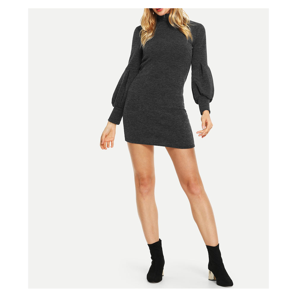 Dress - Grey High Neck Bishop Long Sleeve Bodycon Dress - MBM Unlimited