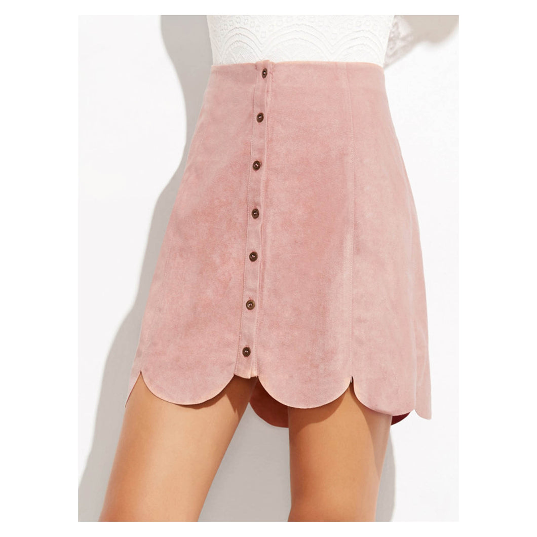 Skirt - Pink Faux Suede Button Down Scallop Skirt - MBM Unlimited