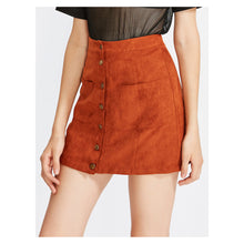 Skirt - Brown Orange Front Pockets Button Down Faux Suede Skirt - MBM Unlimited