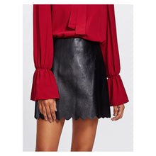 Skirt - Black Faux Leather Scallop Hem Mini Skirt - MBM Unlimited