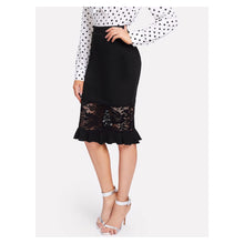 Skirt - Black Lace Ruffle Hem Bodycon Midi Pencil Skirt - MBM Unlimited