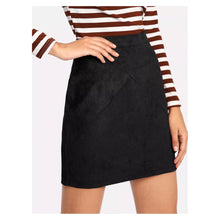Skirt - Black High Waist Faux Suede Mini Skirt - MBM Unlimited