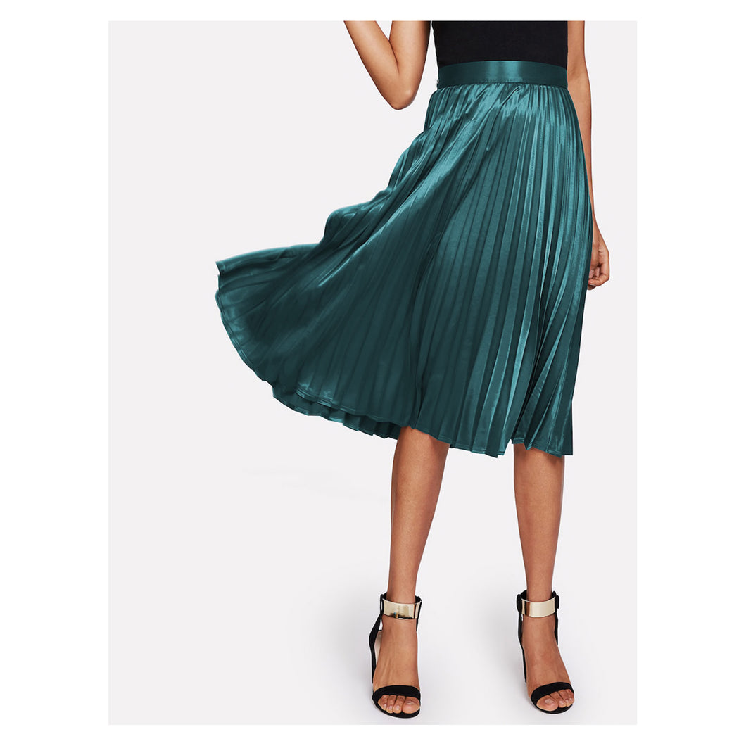 Green Pleated Flared Satin Midi Skirt