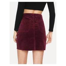 Skirt - Burgundy Red Side Pockets Corduroy Mini Skirt - MBM Unlimited