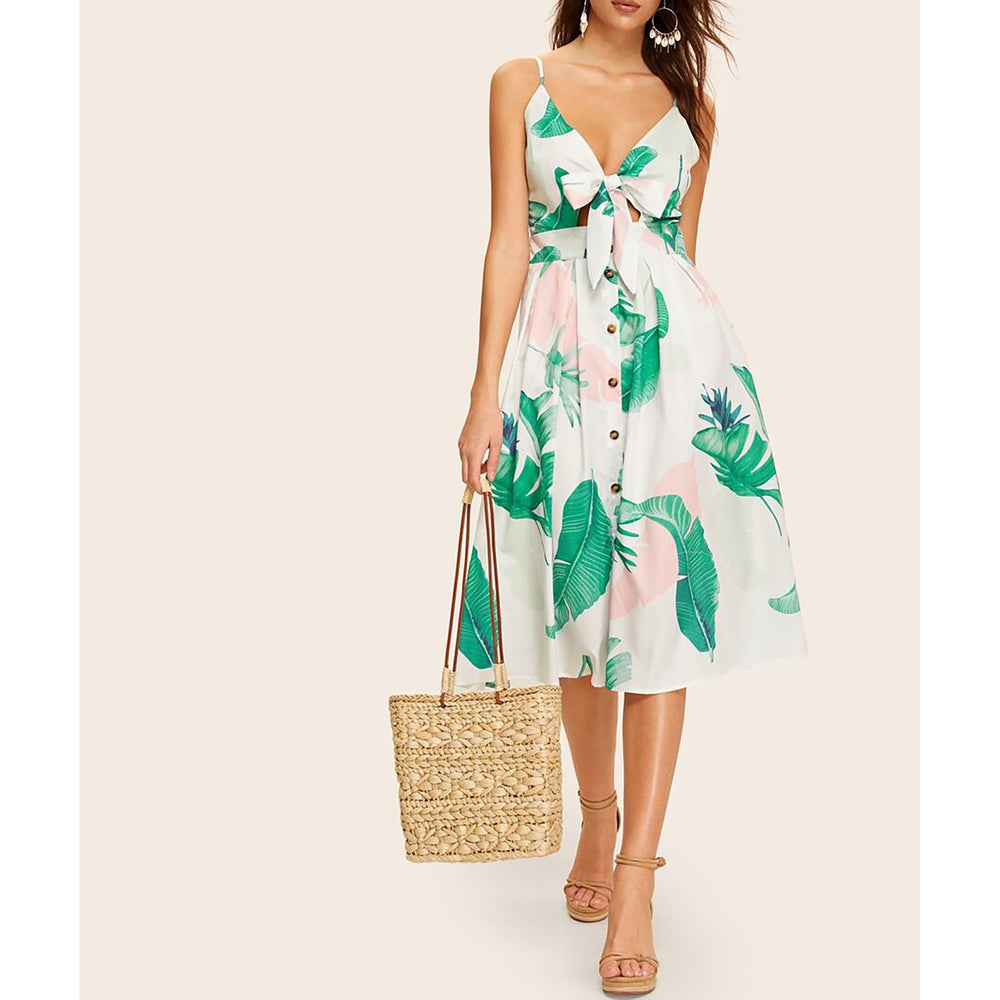 White Leaf Print Cut Out Button Down Midi Dress