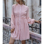 Pastel Pink Frill Button Down Lace Mini Dress