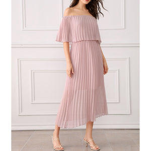 Dress - Dusty Pink Off the Shoulder Ruffle Pleated Maxi Dress - MBM Unlimited