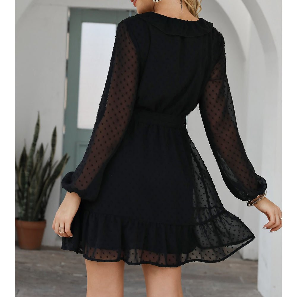 Black Swiss Dot Sheer Sleeves Ruffle Belted Dress