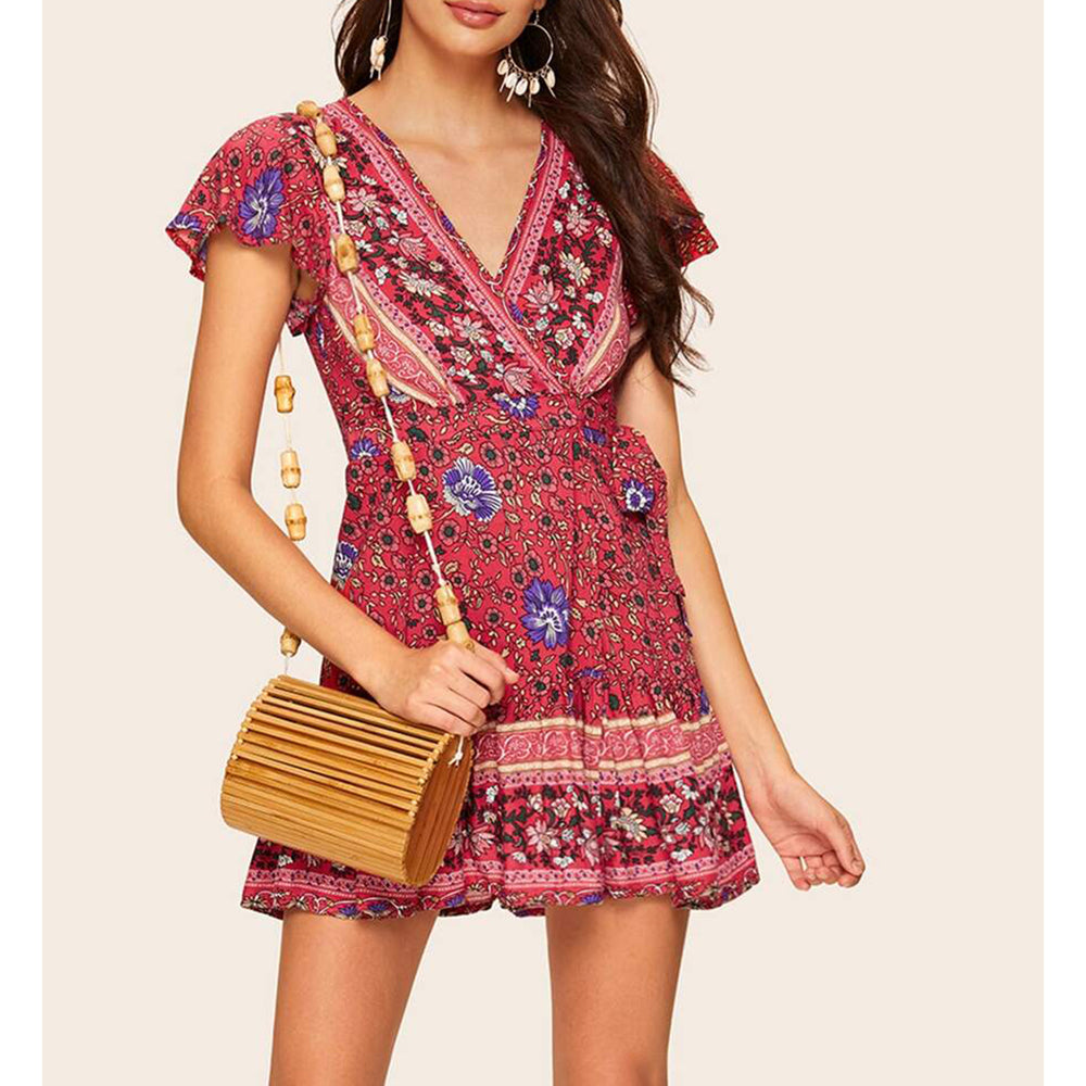 Dress - Red Floral Side Tie Wrap Fit & Flare Mini Dress - MBM Unlimited
