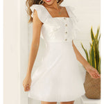 White Ruffle Sleeve Fit & Flare Summer Short Dress