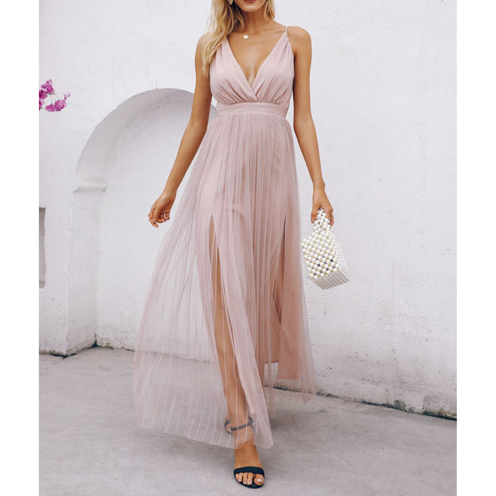 Dusty Pink Criss Cross Mesh Elegant Maxi Dress