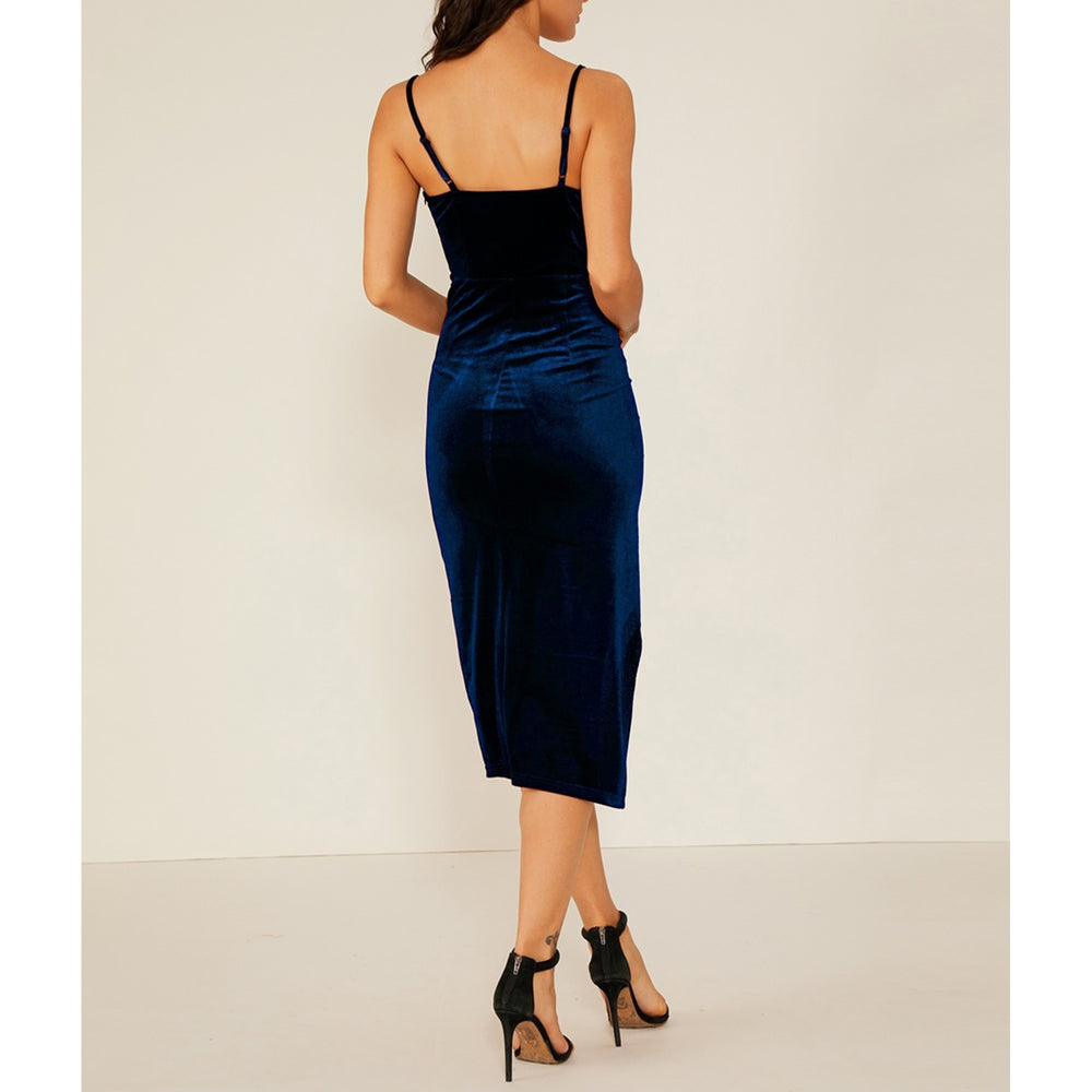Dress - Blue Plunge Wrap Side Split Velvet Midi Dress - MBM Unlimited
