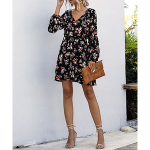 Black Floral Print Long Sleeve Fit & Flare Dress