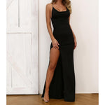 Dress - Black Crisscross Back High Slit Bodycon Long Dress - MBM Unlimited