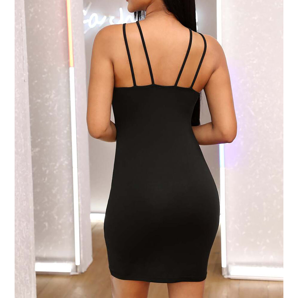 Black Strappy Halter Neckline Bodycon Sexy Dress