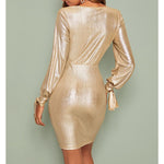 Gold Metallic Deep V Side Ruffle Fitted Cocktail Dress