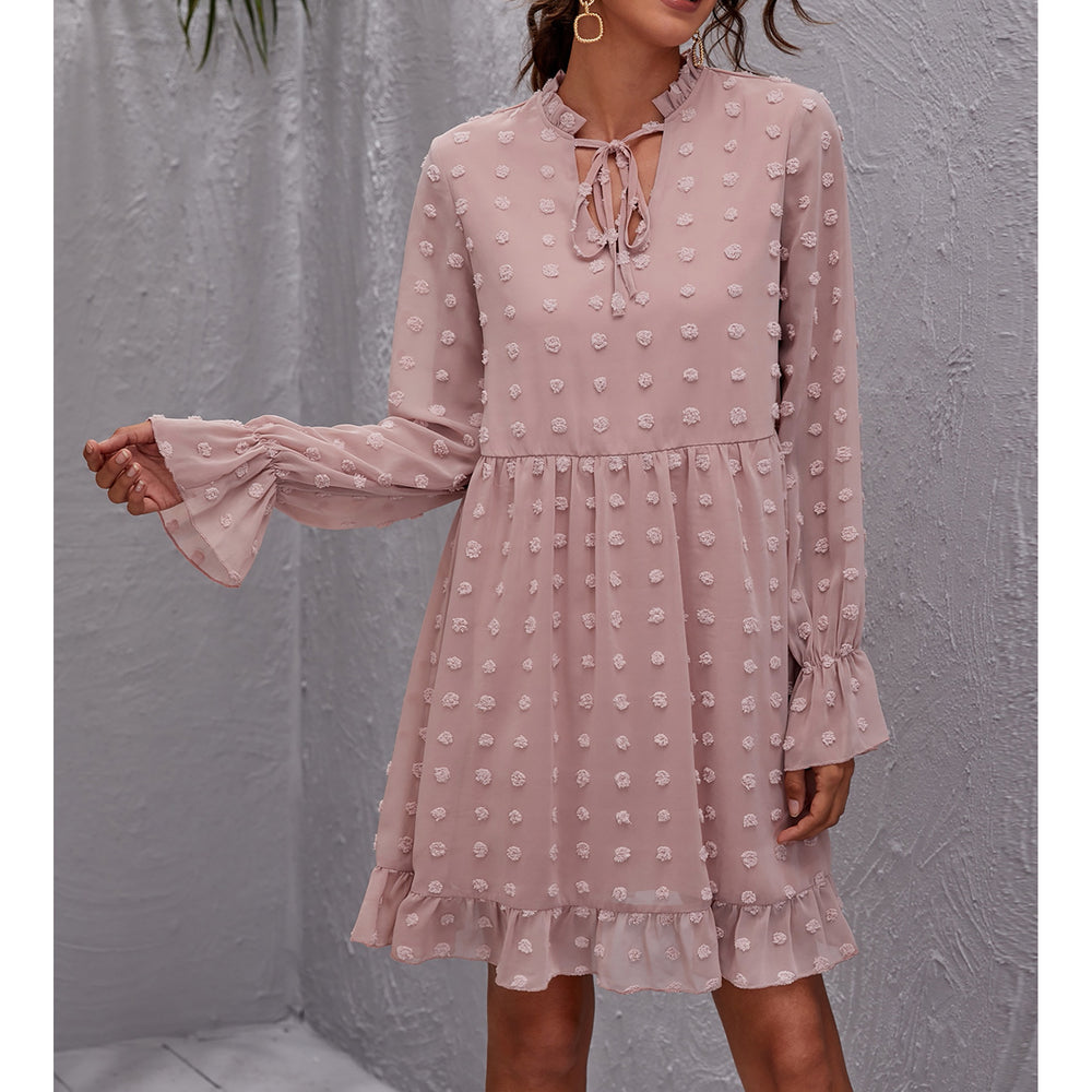 Pink Long Sleeve Swiss Dot Ruffle Loose Dress