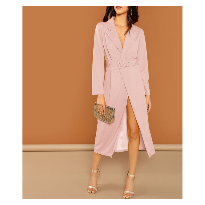 Blush Pink Long Sleeve Belted Peak Collar Trench Dress