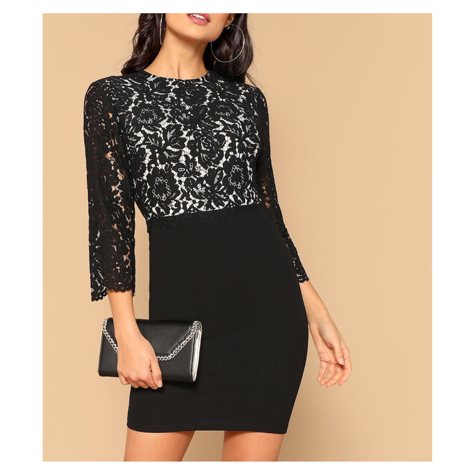 Dress - Black Long Sleeve Bodycon Floral Lace Cocktail Dress - MBM Unlimited