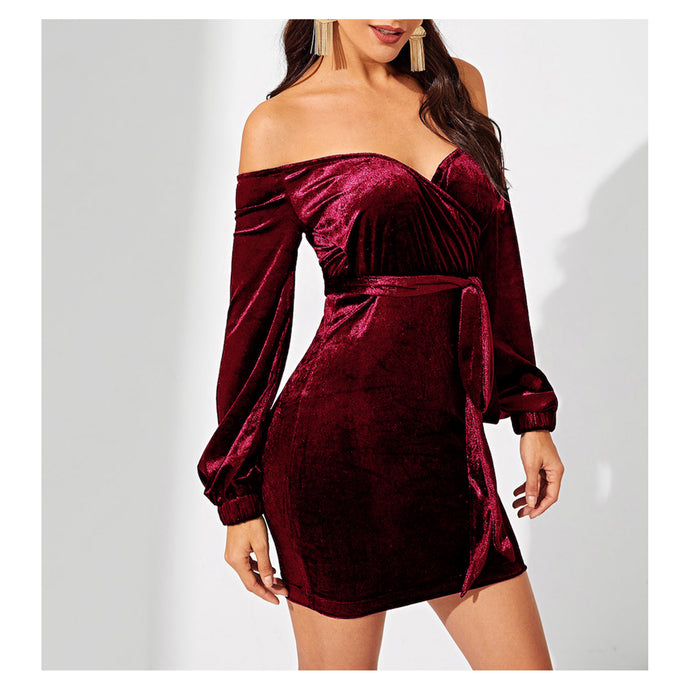 Dress - Burgundy Off the Shoulder Bodycon Sexy Velvet Party Dress - MBM Unlimited