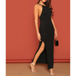 Black Criss Cross Backless Side Slit Maxi Cami Dress