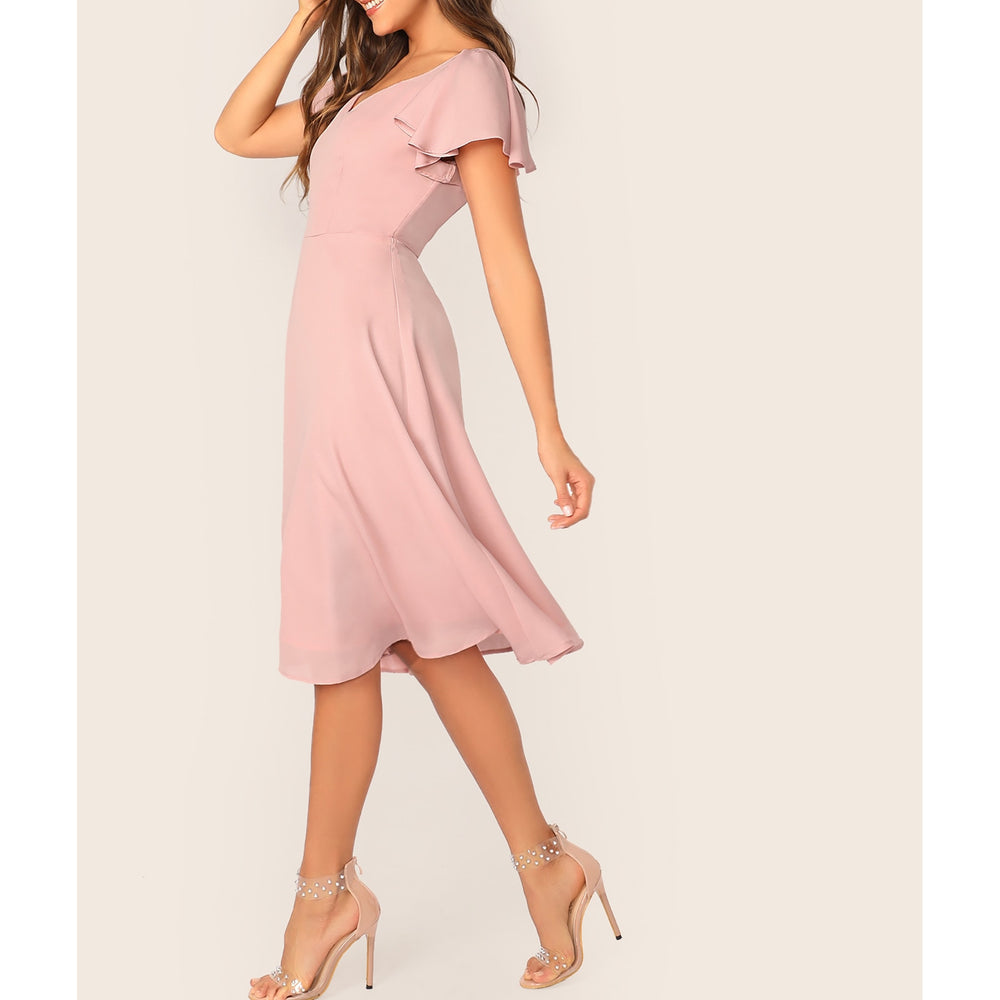 Pastel Pink Solid Flutter Sleeve Fit & Flare Dress