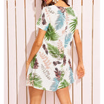 White Tropical Palm Print Strappy Neck Shift Sundress