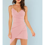 Dress - Pastel Pink Sleeveless Wrap Asymmetrical Dress - MBM Unlimited