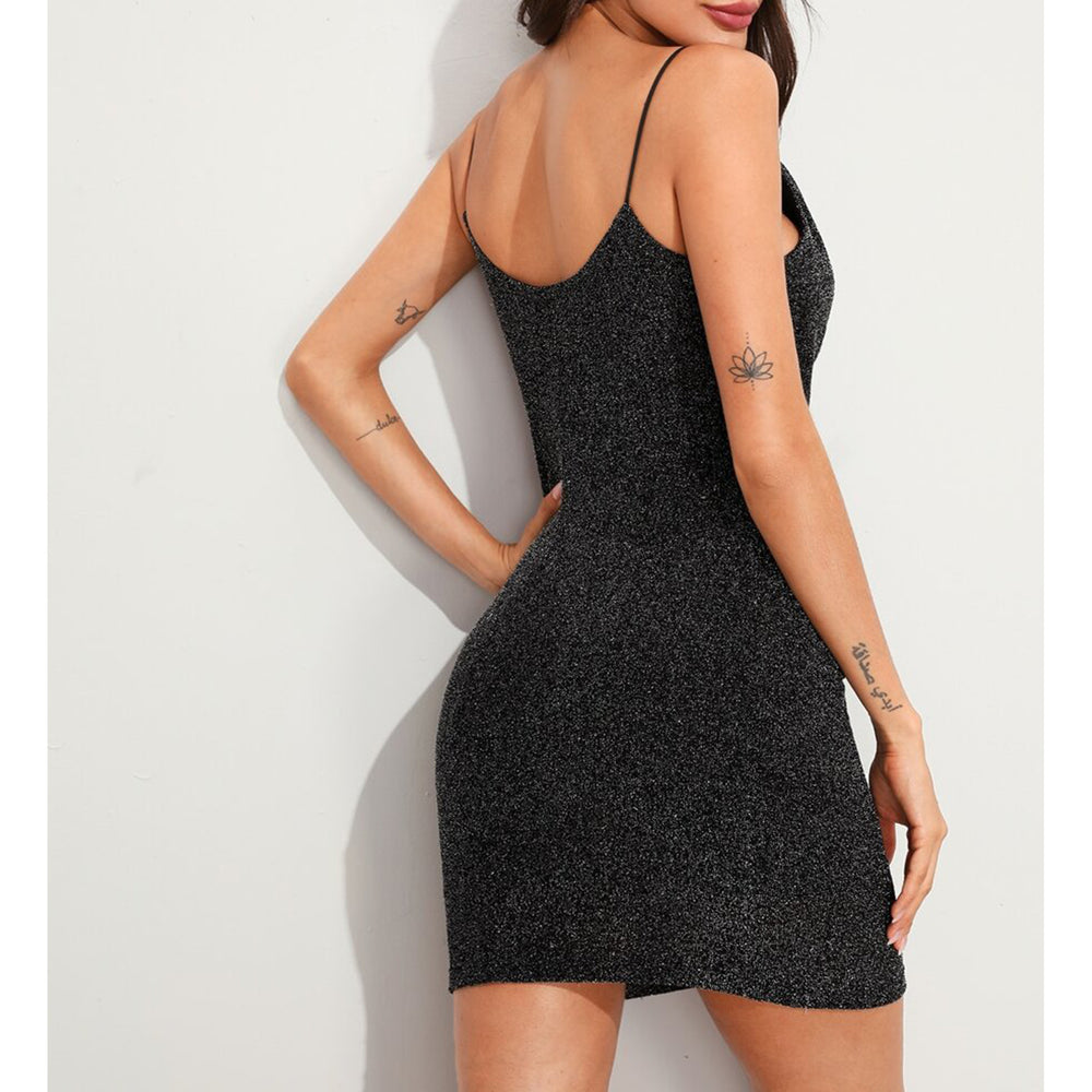 Dress - Black Silver Glitter Draped Neckline Bodycon Dress - MBM Unlimited