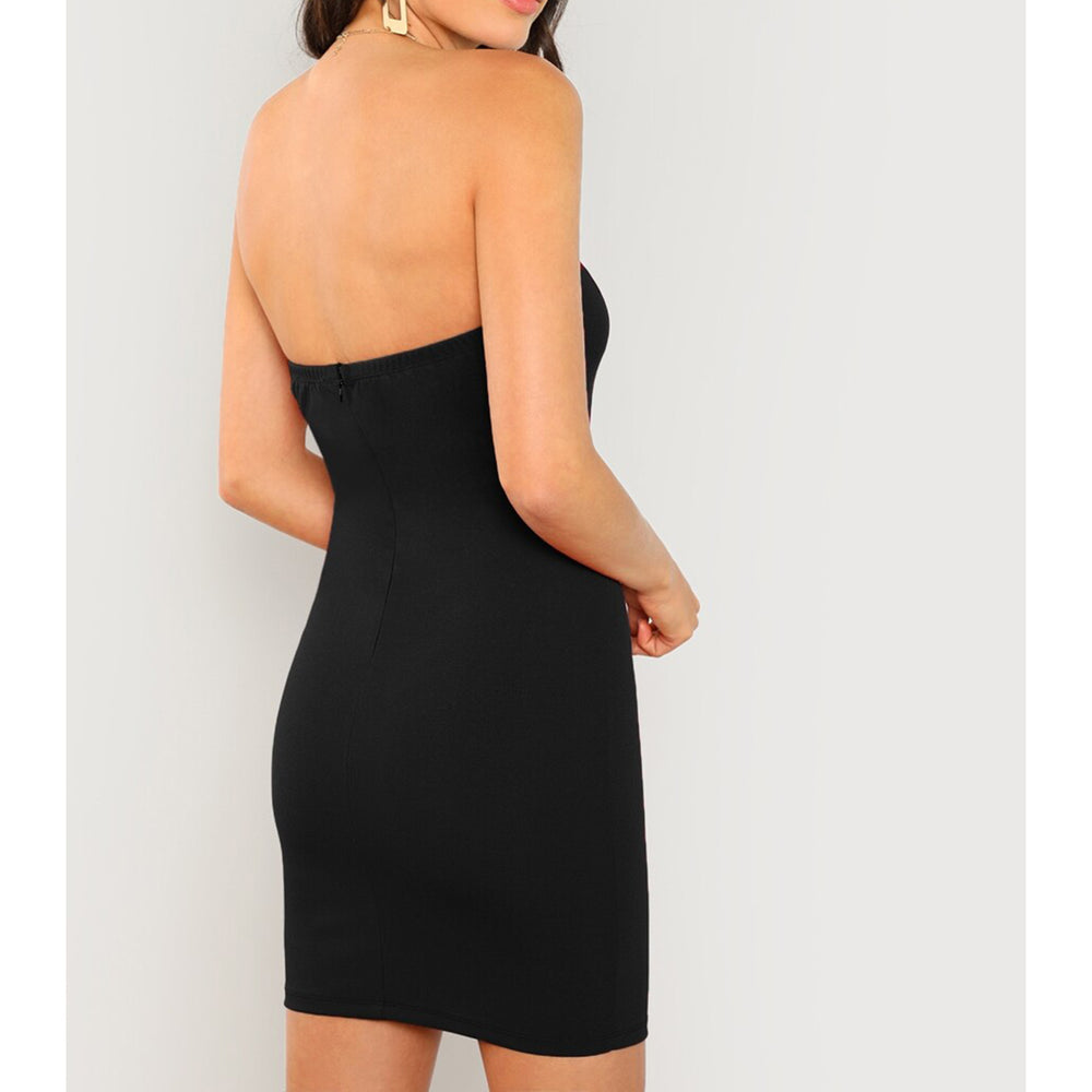 Dress - Black Strapless V Wire Bodycon Sexy Mini Dress - MBM Unlimited