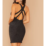 Black Silver Glitter Strappy Back Fitted Party Dress