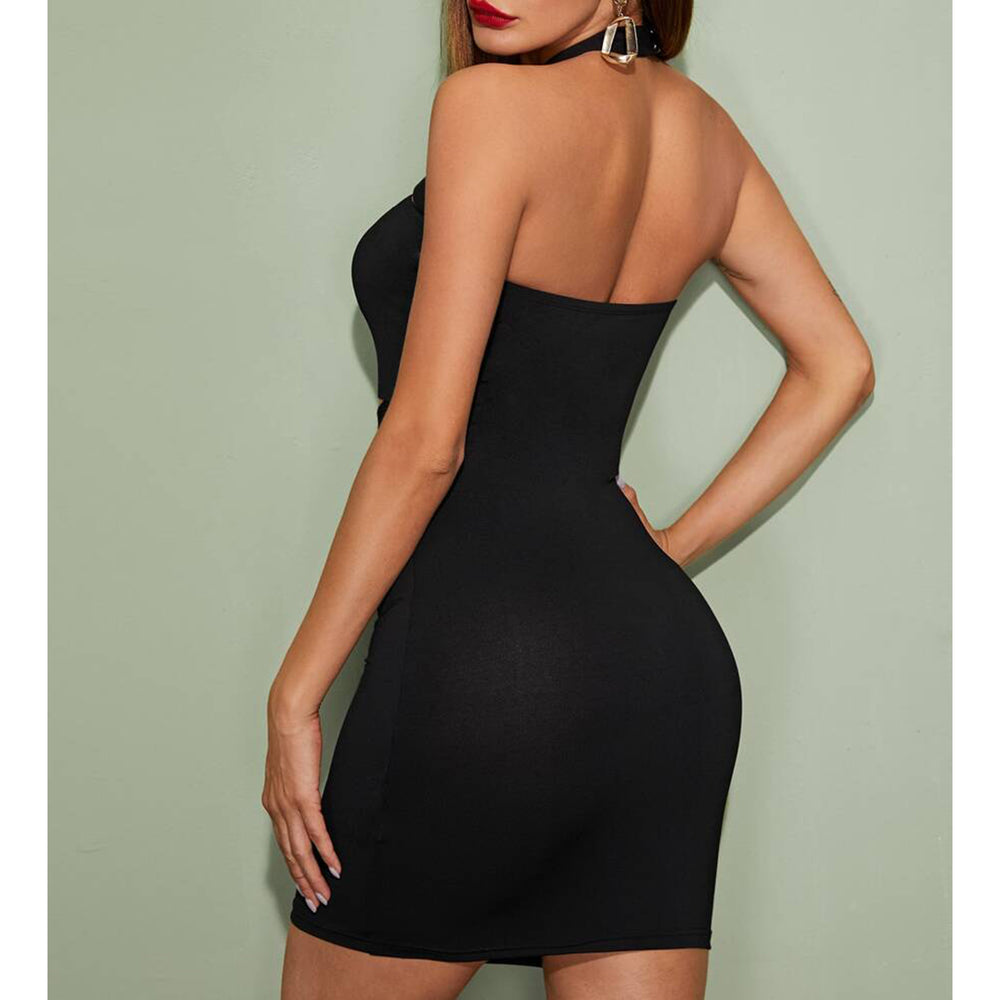 Dress - Black Front Criss Cross Bodycon Sexy Party Dress - MBM Unlimited