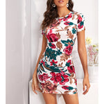 White Floral Short Sleeve Bodycon Dress