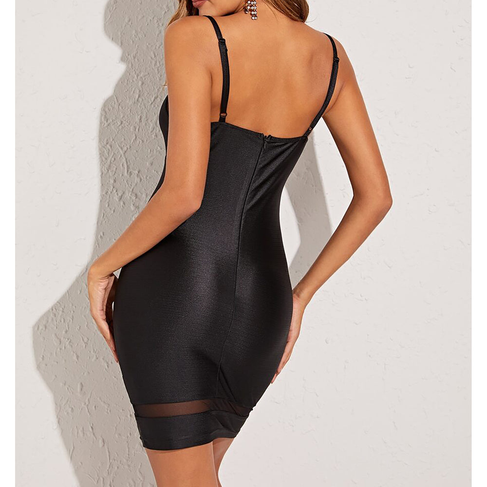 Black Satin Mesh Details Bodycon Mini Party Dress