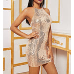 Gold Halter Backless Fitted Sequin Cocktail Dress