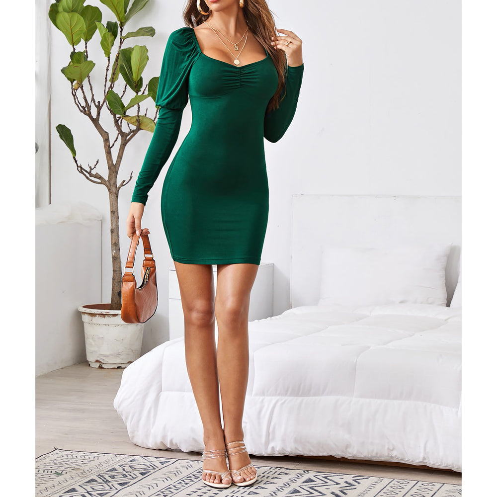Green Bubble Long Sleeve Ruched Bodycon Mini Dress