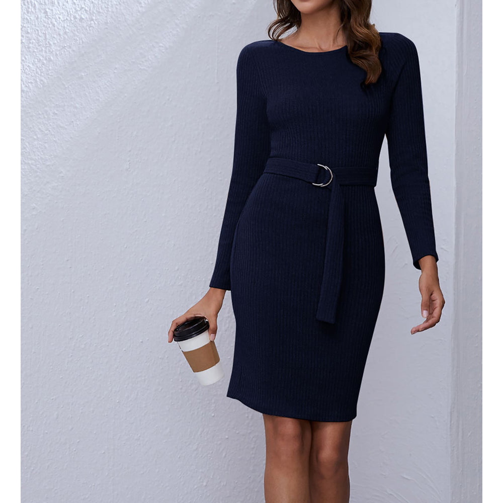 Blue Long Sleeve Ribbed Knit Belted Dress