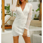 Dress - White Long Sleeve Guipure Lace Cocktail Dress - MBM Unlimited