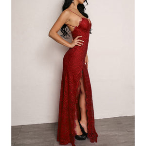 Red Lace Side Slit Sexy Cami Maxi Evening Dress