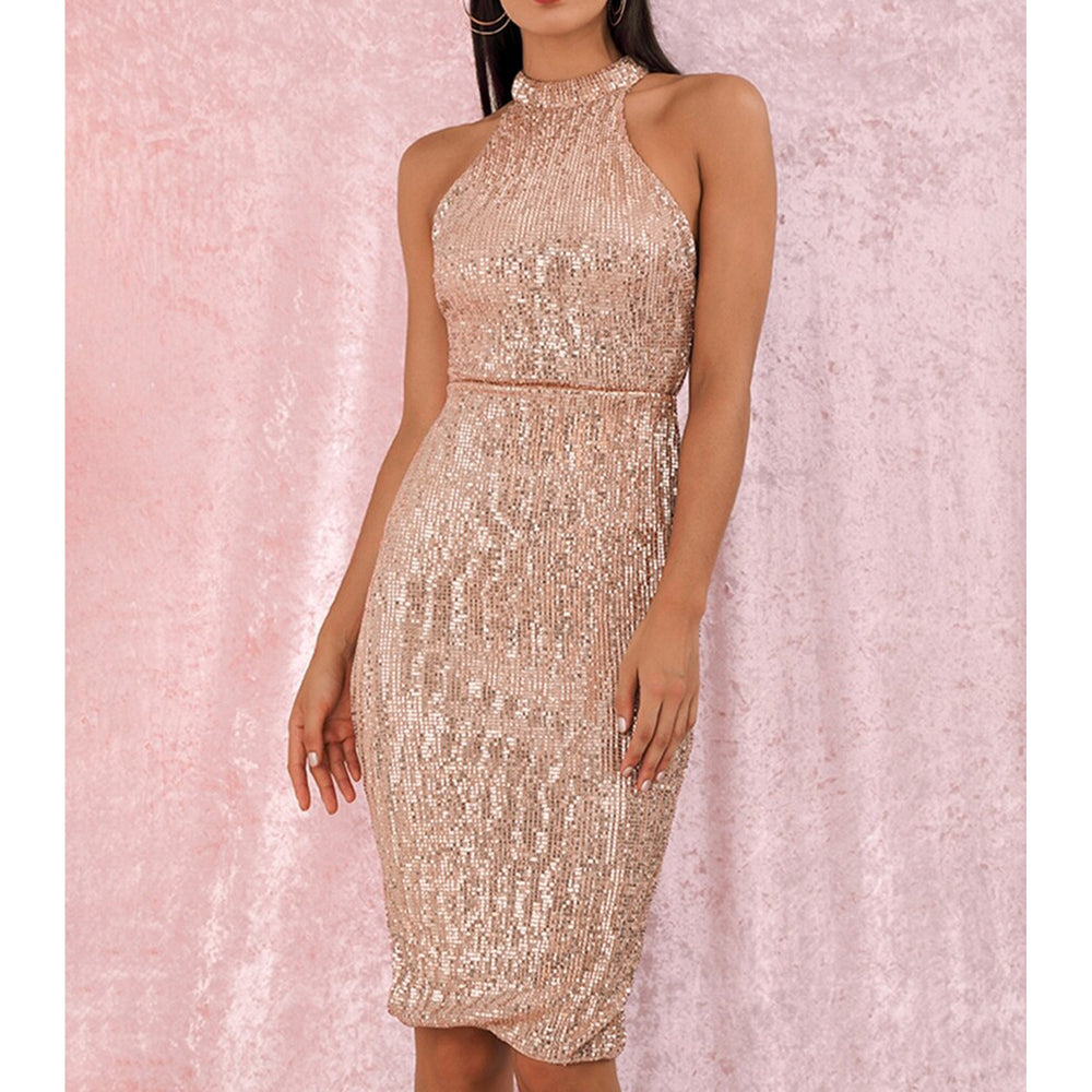 Dress - Rose Gold Halter Sequin Bodycon Party Midi Dress - MBM Unlimited
