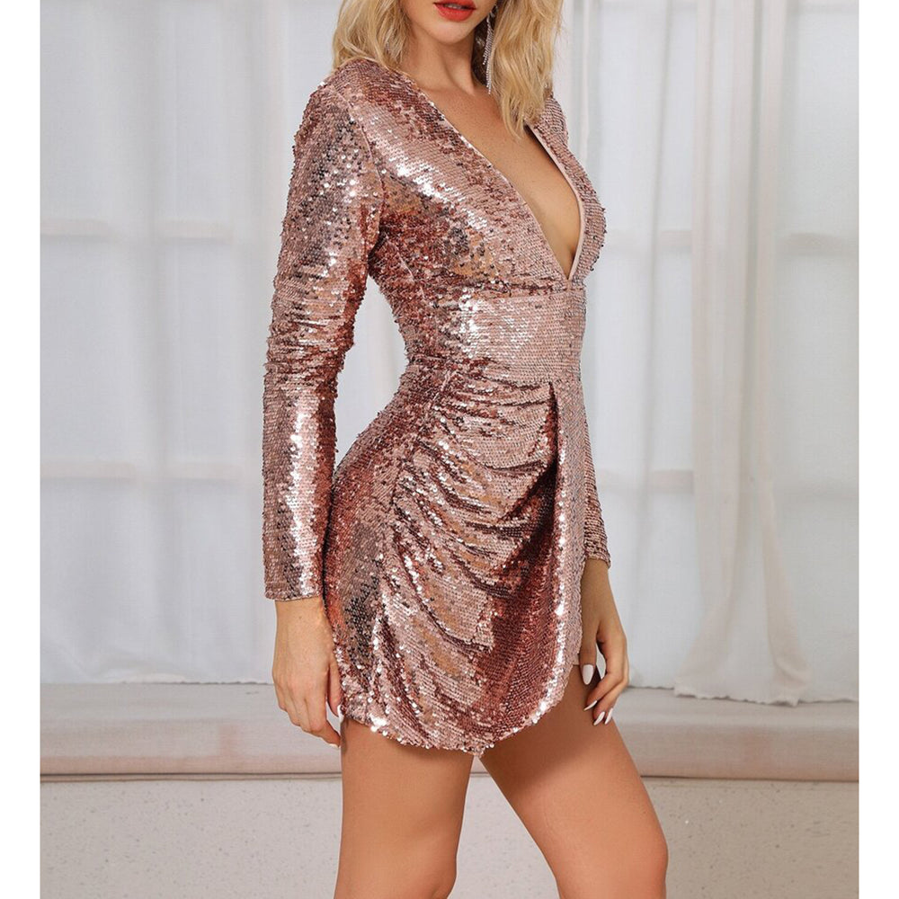 Dress - Rose Gold Long Sleeve Draped Sequin Cocktail Dress - MBM Unlimited