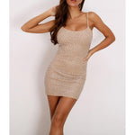 Dress - Nude Pearl Embellished Bodycon Cocktail Dress - MBM Unlimited
