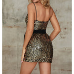 Black Gold Sequin Belted Bow Cami Party Mini Dress