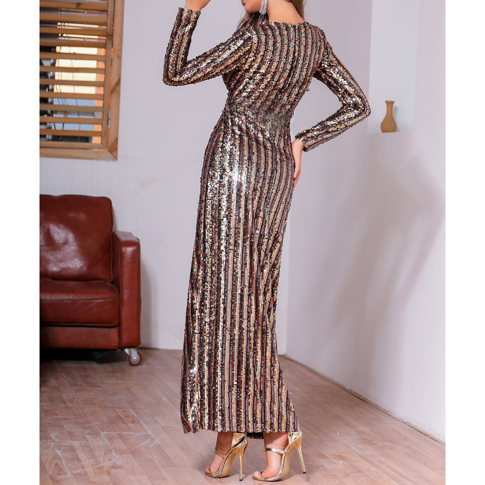 Gold Black Striped Sequin Split Thigh Wrap Dress