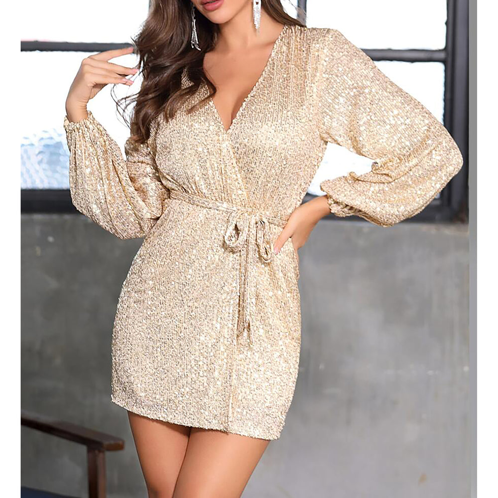 Gold Sequin Long Sleeve Belted Cocktail Wrap Dress
