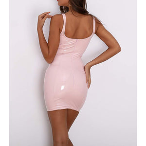 Dress - Pink Sleeveless Faux Patent Leather Bodycon Dress - MBM Unlimited
